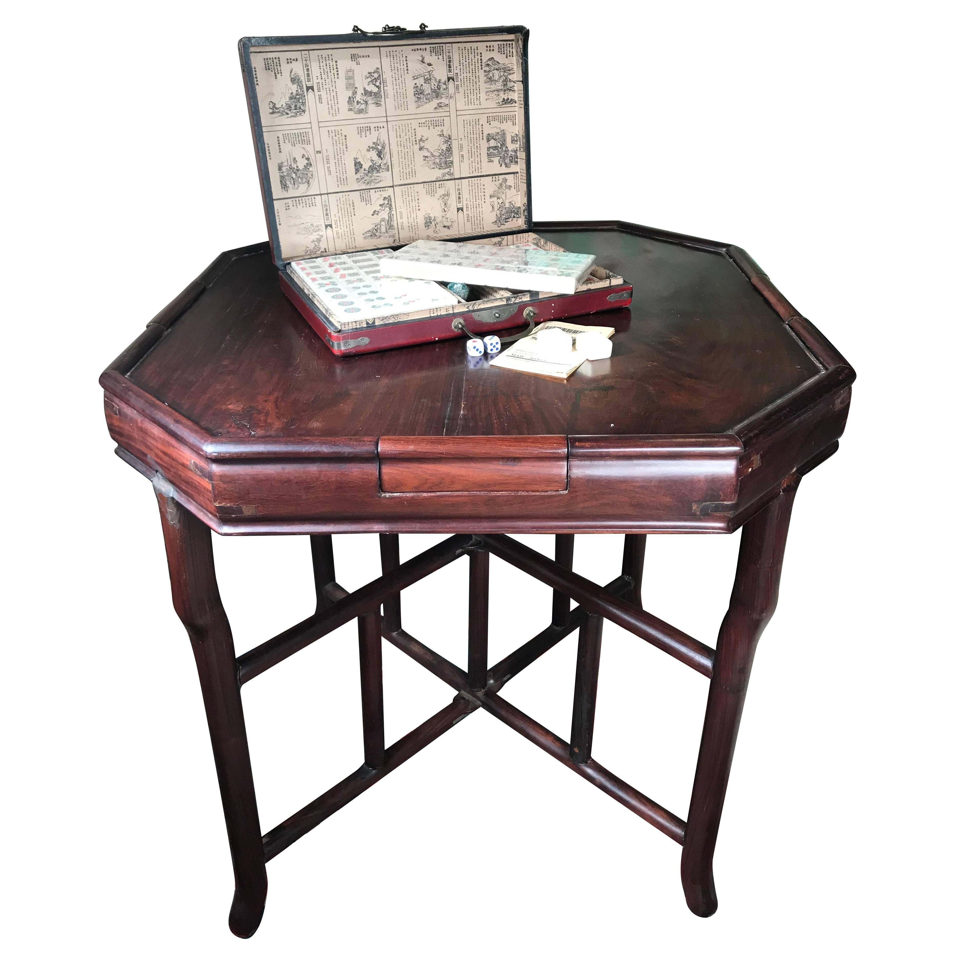 Chinese Antique Gaming Table With Vintage Game, Qing Dynasty, 19th Century  For Sale