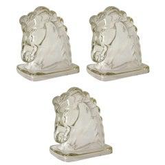 Set of Three Glass Horse Heads
