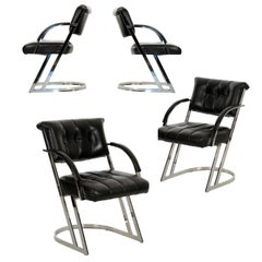 Set of Four Chromed Steel Leather Dining Chairs, circa 1990