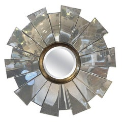 Contemporary Beveled Circular Mirror in a Mirrored Sunburst Frame