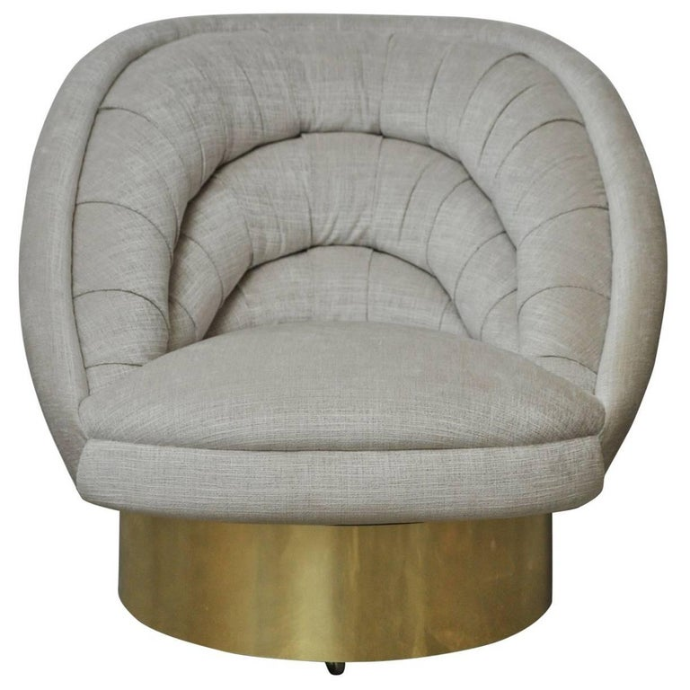 Vladimir Kagan Crescent Swivel Chair on Brass Base For Sale