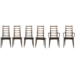 6 Rosewood Lis Dining Chairs by Niels Kofoed, Two with arms, Four armless