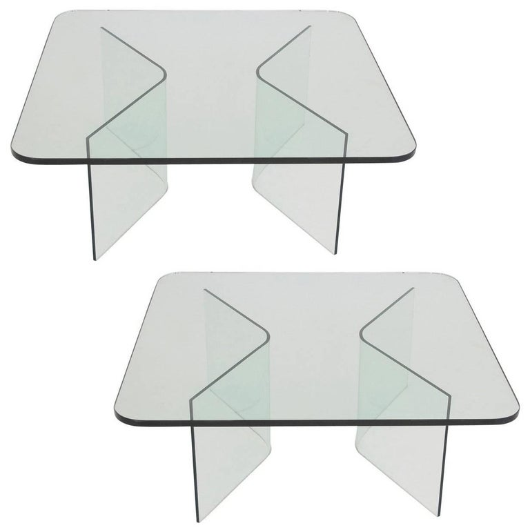 1970s, Italian Midcentury All Glass Square Coffee Table