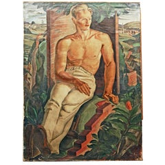 """Bricklayer at Rest,"" Fabulous WPA-Era Painting of Half-Nude Laborer"