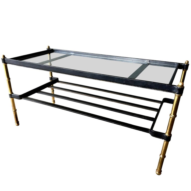 Jacques Adnet Leather Wrapped Coffee Table