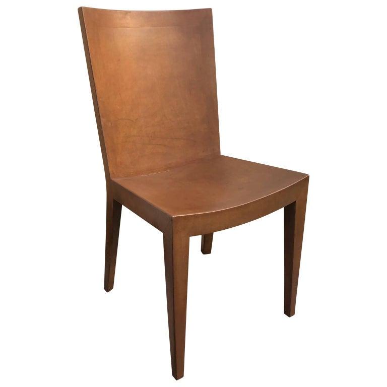 Signed Karl Springer Leather Chair