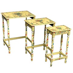 19th Century Japanned Lacquer Nest Tables, circa 1890