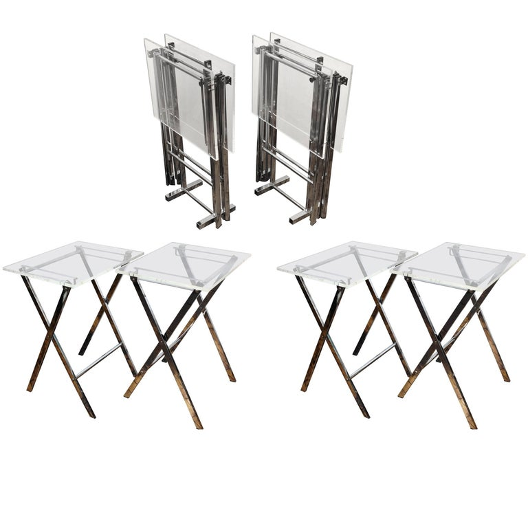 Set of Lucite and Chrome Tray Tables