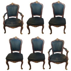 Set of Six Bronze Mounted Louis XV Style Dining Chairs in Black Leather