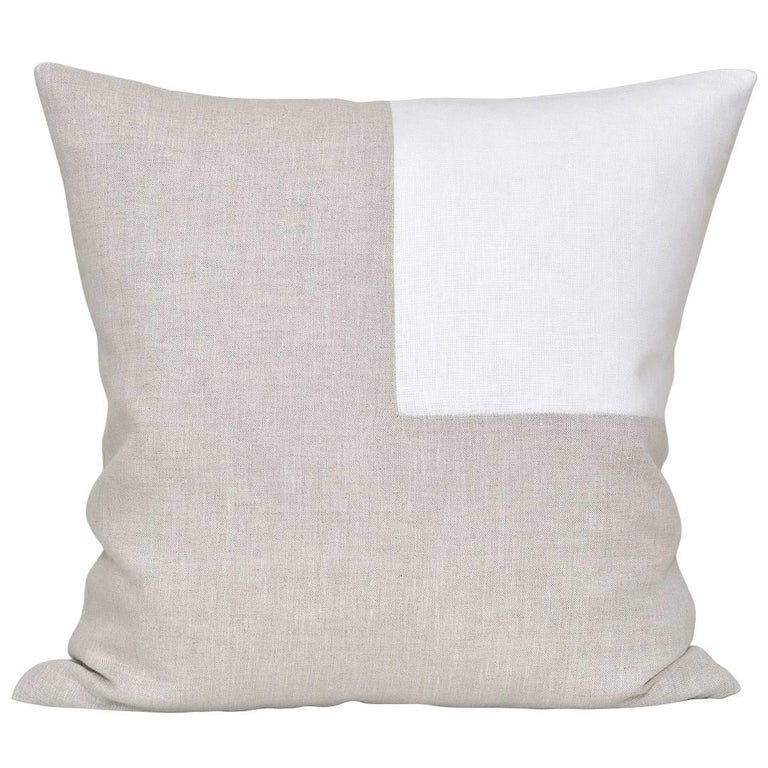 Large Contemporary Natural Irish Linen Pillow with Vintage White Patch