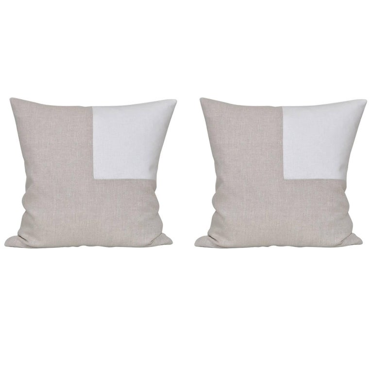 Pair of Large Contemporary Natural Irish Linen Pillow with Vintage White Patch