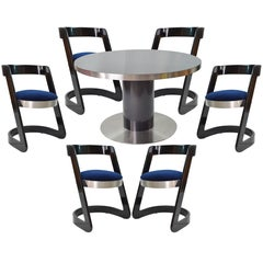 1970s Italian Set Black Lacquered Table and Blue Velvet Chairs for Willy Rizzo
