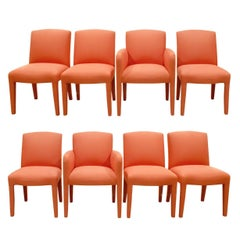 Donghia Set of 8 Salmon Dining Chairs, 1980s