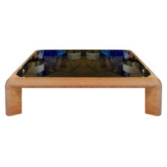 """Karl Springer Large """"Mark II Coffee Table"""" in Leather, 1983"""