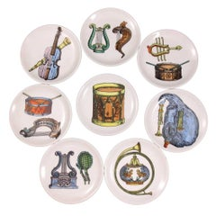 Set of Eight Midcentury Bucciarelli Musical Coasters, circa 1960