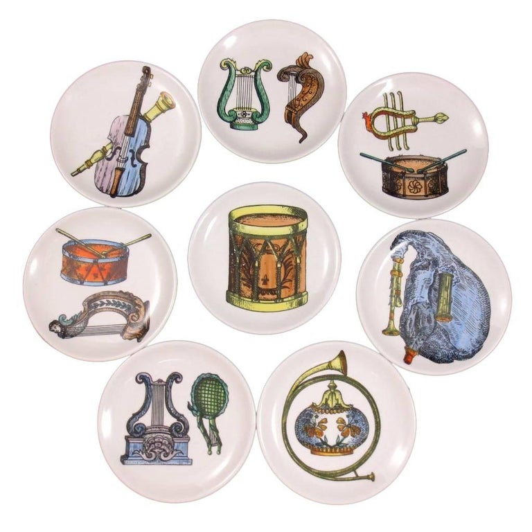 Set of Eight Midcentury Bucciarelli Musical Coasters, circa 1960 For Sale