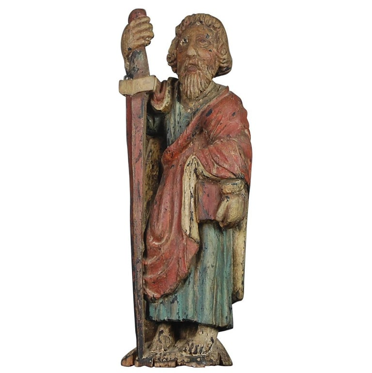 19th Century Naive Carved Wood St Paul in Original Paint