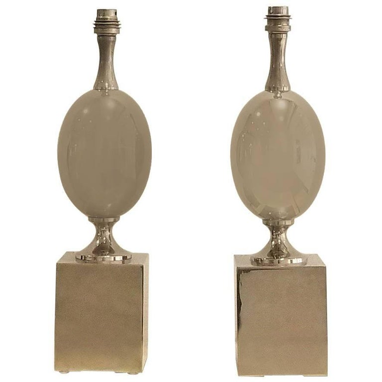 Pair of Nickel-Plated Brass Table Lamps by Philippe Barbier, France, 1970s