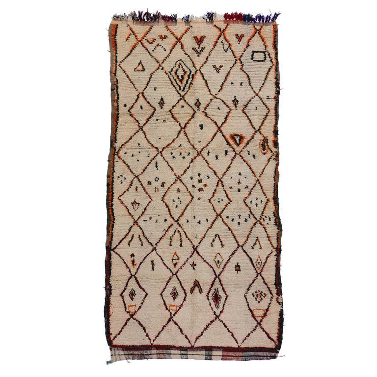 Vintage Azilal Berber Moroccan Rug with Tribal Symbols