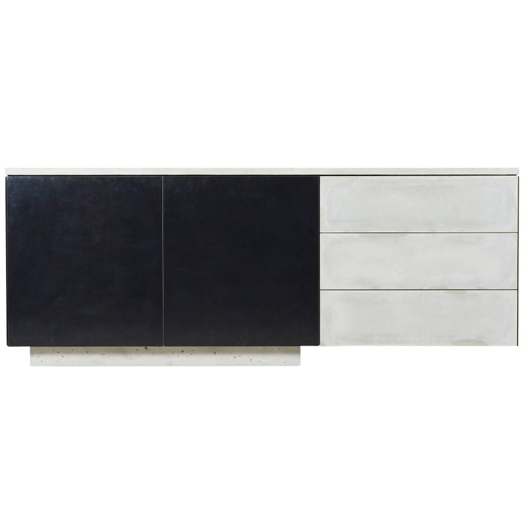 "Solid Walnut, Blackened Steel and Cast Concrete ""C-210"" Cantilevered Credenza"