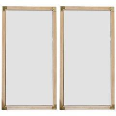 Pair of Modern Campaign Style Wall Mirrors with Brass Accents and Natural Wood