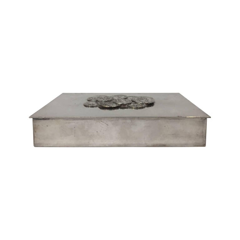 1970s, French Rectangular Silver Box with Coin Lid Detail by Christian Dior 1