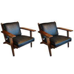 Pair of Hans J Wegner GE290 Lounge Chairs, Fumed Oak, New Leather, Restored