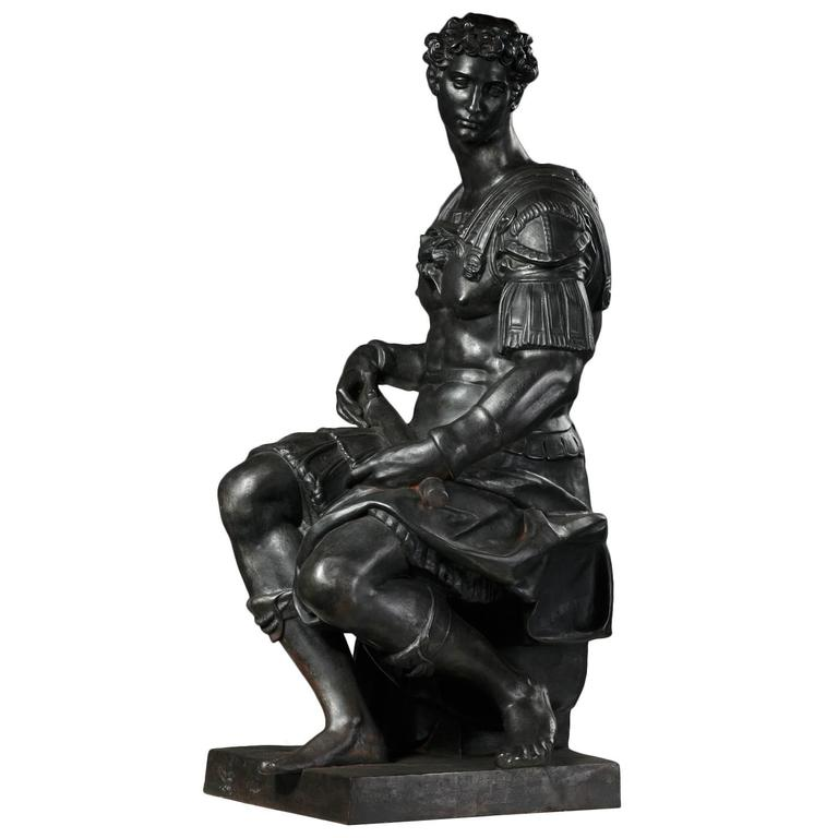 A 19th C. Cast Iron Statue of Giuliano de Medici by Foundry Val d'Osne