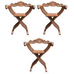 Set of Three Walnut Savonarola Chairs