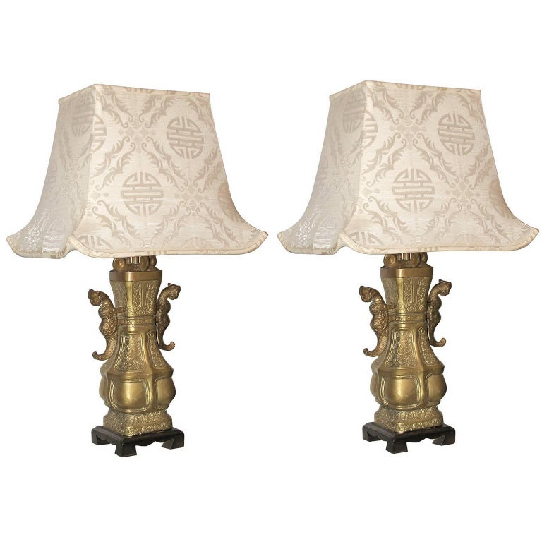 Pair of Impressive Bronze Chinese Urn Table Lamps with Silk Pagoda Shades