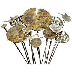 Set of Mid-Century Modern Gilt Metal Floral Bouquet