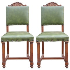 Pair of French Renaissance Carved Oak Green Side Chairs