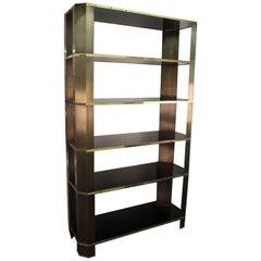 Monumental Modern Bronze and Smoked Glass Etagere