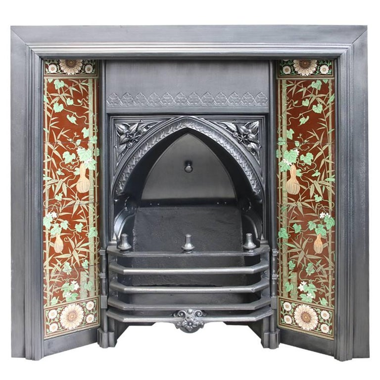 Large 19th Century Victorian Gothic Cast Iron And Tiled Fireplace Insert For