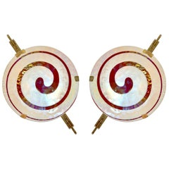 Art Deco Style Monumental Pair of Burgundy Ivory White Murano Glass Wall Lights