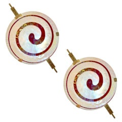 Art Deco Style Monumental Pair of Burgundy Ivory White Murano Glass Wall Lights