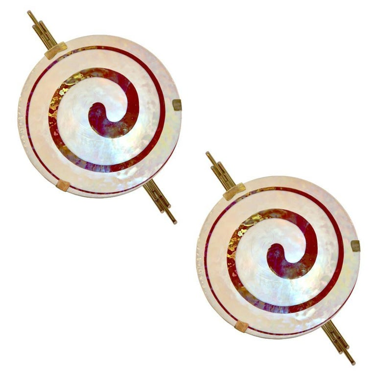 Art Deco Style Monumental Pair of Burgundy Ivory White Murano Glass Wall Lights For Sale