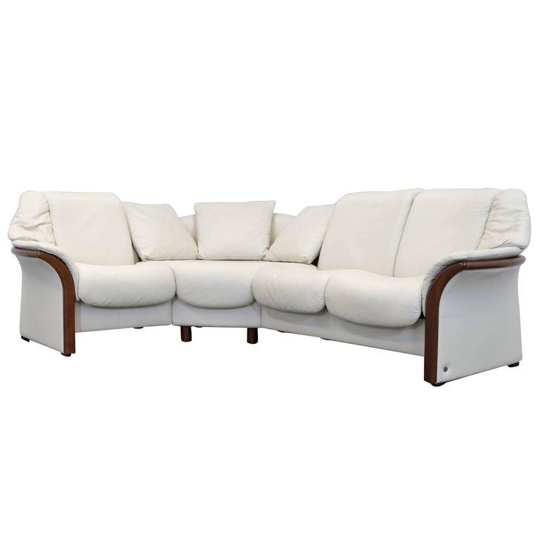 Ekornes Stressless Designer Corner Sofa Beige Leather Relax Function Couch For Sale At 1stdibs