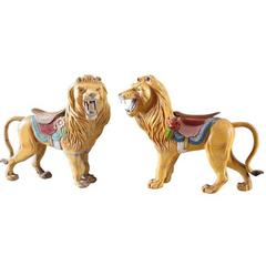 Pair of Carved and Polychromed Carousel Lions