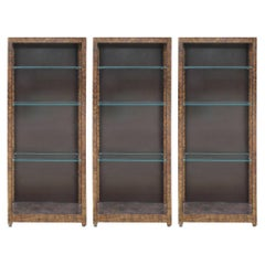Set of Three Modern Henredon Oil Drop Display / Book Cases with Tortoise Finish
