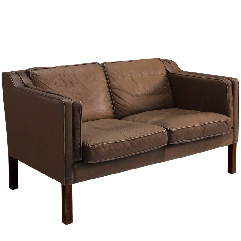 Danish Brown Leather Sofa for Stouby Polster Møbelfabrik For Sale at ...