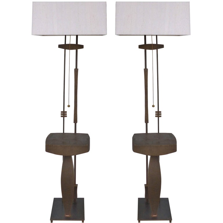 Mid-Century Modern Pair of Bronze and Iron Sculptural Floor Lamps