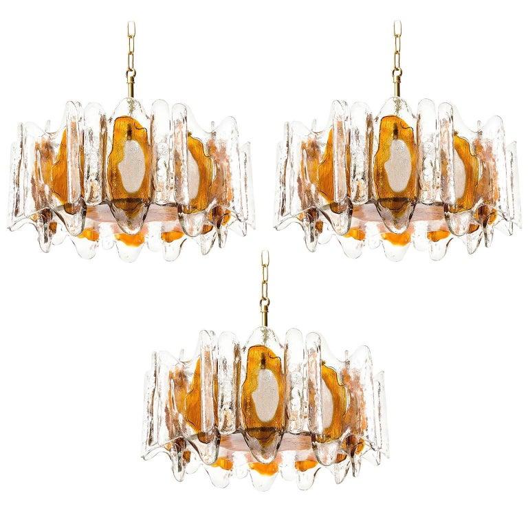 Three Kalmar Chandeliers Pendant Lights, Murano Glass Brass, 1970s
