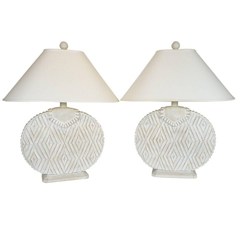 Pair of Ceramic Lamps with Aztec Detail For Sale
