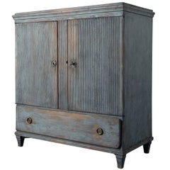 Period Gustavian Sideboard in Light Blue Paint