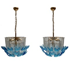 Rare Murano Glass Chandeliers by Alfredo Barbini