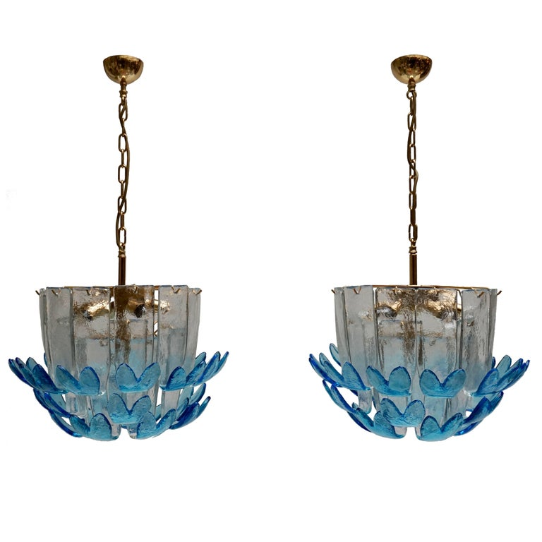 Rare Murano Glass Chandeliers by Alfredo Barbini For Sale