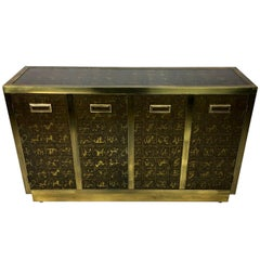Rare Etched Brass Cabinet by Bernard Rohne for Mastercraft