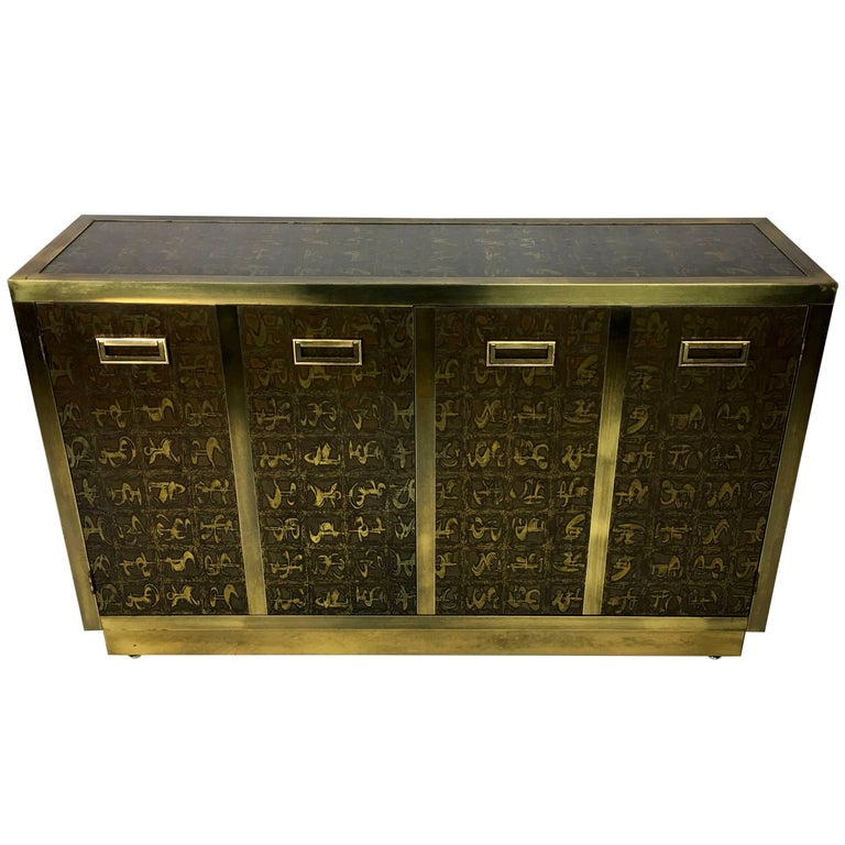 Rare Etched Brass Cabinet by Bernard Rohne for Mastercraft For Sale