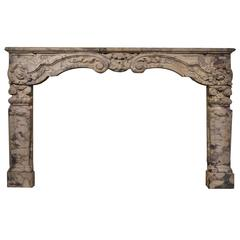 Late 17th Century Large Dutch Louis XIV Fireplace in Breche Violet Marble